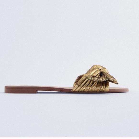 NWT ZARA Sandals With Metallic Bow Gold 10/41
